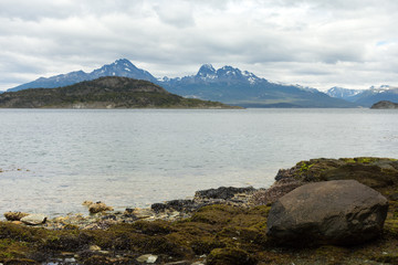 Boulders and Black Mussel Shells along the Beagle Channel in Tierra del Fuego Argentina.