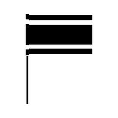 flag in pole national emblem symbol vector illustration black and white image