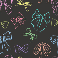 Cute seamless pattern with beautiful hand drawn bows. Vector doodle illustration.  Cloth design, wallpaper, wrapping.