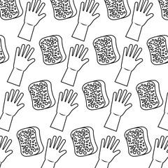 cleaning hygiene sponge and gloves wallpaper vector illustration