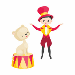 Vector image of a trained circus animal in cartoon style. Colorful illustrations isolated on white background.