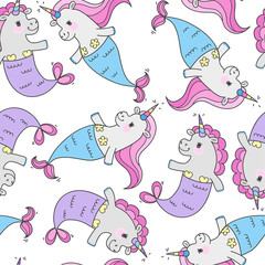 Seamless pattern with magic cute mermaids. Funny little unicorns with mermaid tail and a rainbow mane. Sea theme. Vector illustration.