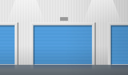 storage units with roller doors front view