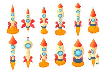 Rocket icon set, cartoon style