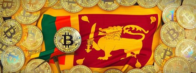 Bitcoins Gold around Sri Lanka flag and pickaxe on the left.3D Illustration.