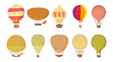 Air ballon icon set, cartoon style