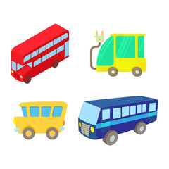 Bus icon set, cartoon style