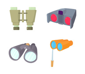 Binocular icon set, cartoon style