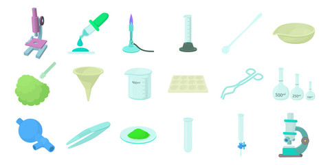 Chemical tools icon set, cartoon style