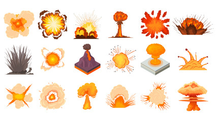 Explosion icon set, cartoon style