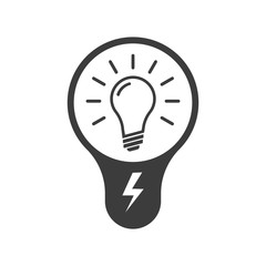 Light bulb icon. Black vector illustration on white background. A light bulb is a linear image.