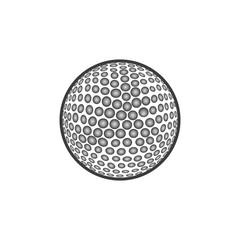 Golf ball Icon. Flat black vector illustration on white background.