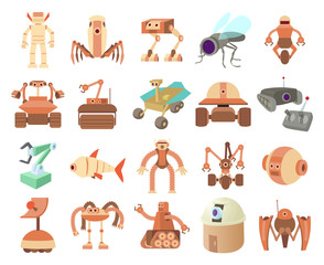 Robots icon set, cartoon style