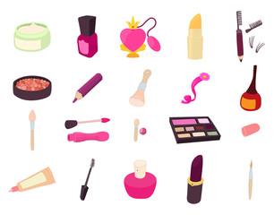 Beauty element icon set, cartoon style