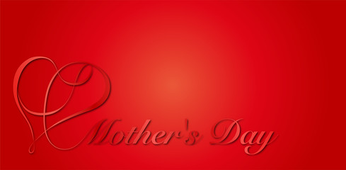 母の日|リボンハート 筆記体 背景赤