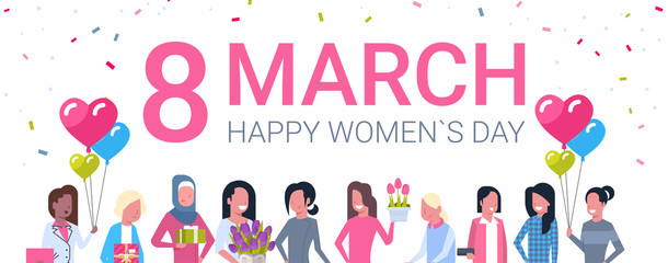 Happy Intenational Women Day Horizontal Banner Group Of Diverse Girls Smiling Vector Illustration