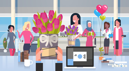 Business Man Hands Giving Flowers To Group Of Women In Office Happy 8 March Holiday Concept Flat Vector Illustration