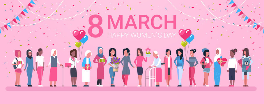 8 March Holiday Background With Happy Group Of Mix Race Woman And Decoration Horizontal Banner Flat Vector Illustration