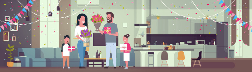 Happy Family Congradulating Mother With Women Day 8 March With Presents And Flowers In Living Room Horizontal Banner Flat Vector Illustration