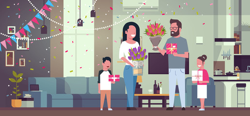 Happy Family Congradulating Mother With Women Day 8 March with Presents And Flowers In Living Room Flat Vector Illustration