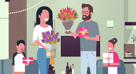 8 March Holiday Background Happy Family Congradulating Mother With Women Day Giving Presents And Flowers At Home Flat Vector Illustration