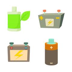 Battery icon set, cartoon style