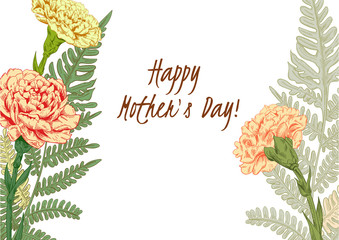 Template for Mother's Day: carnation schabaud, forest fern, eucalyptus seeded (greenery): pink, yellow flowers, leaves, white background, hand draw, engraving vintage sketch style, botanical vector