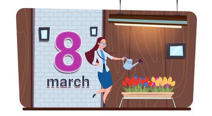 Girl Watering Tulip Flowers Happy Women Day 8 March Holiday Concept Flat Vector Illustration