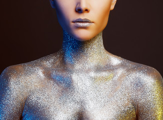 Beautiful Woman with Sparkles on Body