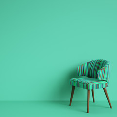Chair with colorful stripes  pattern on green blue backgrond with copy space.Concept of minimalism. Digital illustration.3d rendering mock up