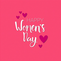 Happy Women Day Background Pink Greeting Card With Heart Shapes Retro Style Vector Illustration