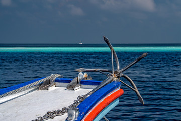ship anchor on ocean background