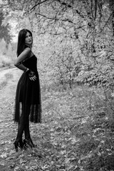 Attractive woman in a black gothic lace dress with long dark hair. Gothic among young people, hobbies and interest