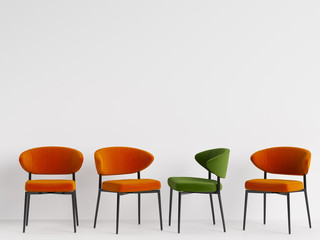 A green chair among orange chairs on white backgrond. Concept of minimalism. 3d rendering mock up