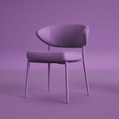 Violet chair on violet background.Minimal concept.Digital illustration.3d rendering