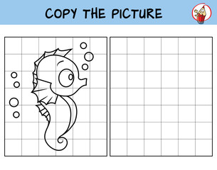 Funny little seahorse. Copy the picture. Coloring book. Educational game for children. Cartoon vector illustration