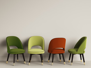 4 chairs in different colors on warm grey backround with copy space 3d illustration