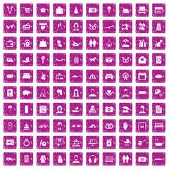 100 family icons set grunge pink