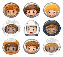 Children wearing astronaut helmets on white background