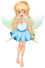 Fairy with blue dress and colorful wings