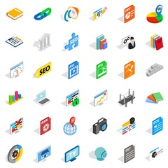 Office document icons set, isometric style