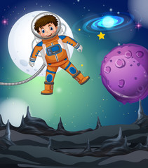 Astronaut flying in the deep galaxy