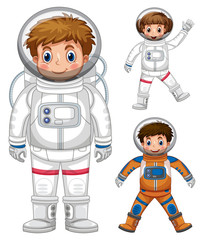 Three kids in astronaut costume