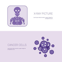 X Ray Picture And Cancer Cells Concept Template Web Banner With Copy Space Vector Illustration