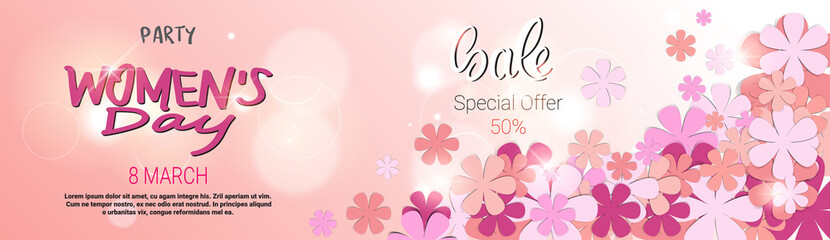 Template Horizontal Poster Womens Day Sale Discount Card Special Offer Banner Design Vector Illustration