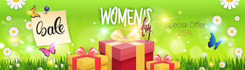 Sale Womens Day Horizontal Banner With Template Background Promotion Poster Design Vector Illustration