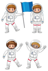 Four astronauts with blue flag