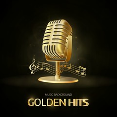 Golden  old vintage microphone icon. Radio station banner.