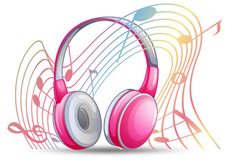 Pink headphone with musicnotes in background