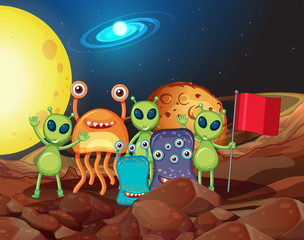 Many types of aliens on the moon